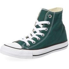 Converse Women's Chuck Taylor All Star Hi-Top - Green (£32) ❤ liked on Polyvore featuring shoes, sneakers, green, lace up high top sneakers, star shoes, laced shoes, lace up shoes and converse shoes