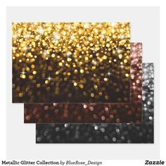 Metallic Glitter Collection Wrapping Paper Sheets
