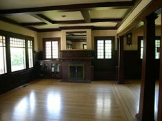 craftsman fireplace | Here's an example of a coffered ceiling: