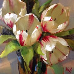 """Daily+Paintworks+-+""""Flaming+Hearts+Tulips+still+life""""+-+Original+Fine+Art+for+Sale+-+©+Krista+Eaton"""