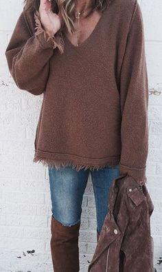Brown Knit / Skinny Denim / Brown OTK Boots