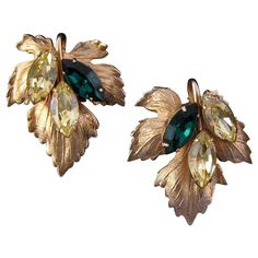Napier Goldtone Grape Leaf Earrings with Navettes from retrojewels on Ruby Lane
