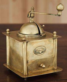 Antique brass coffee grinder Inessa Stewart