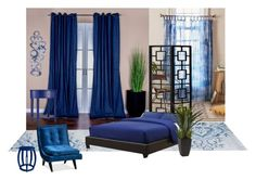 """""""The bedroom is unified with calm dark blue."""" by hiroko-eirai on Polyvore featuring interior, interiors, interior design, ホーム, home decor, interior decorating, Urban Outfitters, Inspire Q, Bungalow 5 と bedroom"""