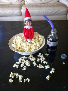 "31 of the best ""elf on the shelf"" ideas, need to do this friday for movie night!"