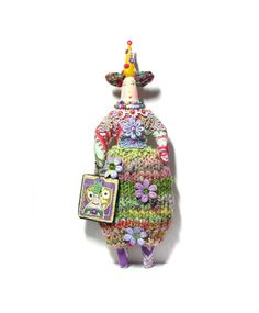 Whimsical OOAK Textile Art Cloth Doll with a por theresahutnick, $35.00