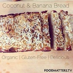 Coconut & Banana Bread! Ingredients: 2 bananas | 1/4 C coconut oil, melted | 4 eggs | 4 fresh dates | 1 tbsp maple syrup | 3/4 C coconut flour | 1/2 tsp baking powder | 1/4 tsp sea salt | 1/2 tsp cinnamon |  Method: https://www.facebook.com/photo.php?fbid=10151846391816570&set=a.10150542824436570.378869.11246196569&type=1&theater