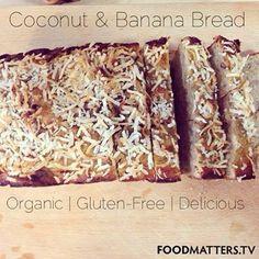Coconut & Banana Bread! Ingredients: 2 bananas | 1/4 C coconut oil, melted | 4 eggs | 4 fresh dates | 1 tbsp maple syrup | 3/4 C coconut flour | 1/2 tsp baking powder | 1/4 tsp sea salt | 1/2 tsp cinnamon |  Method: https://www.facebook.com/photo.php?fbid=10151846391816570&set=a.10150542824436570.378869.11246196569&type=1&theater