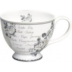Stoneware teacup in Dora white design ~ by GreenGate, Denmark.Dishwasher safe, but hand washing recommended. Style Anglais, Dora, French Pattern, Tea Art, 50 Shades Of Grey, China Dinnerware, Neutral Colors, French Antiques, Cup And Saucer
