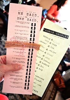 bridal shower games He & She signs (about the couple) - MAYBE on the games, but this one is pretty quick and easy.