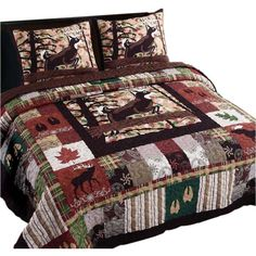 Whitetail lodge brings amazing designs of wild animals, tracks and the autumn leaves on a coordinating backdrop on the Full/Queen, King Size Quilts. The Quilt Set comes with a reverse of a solid color