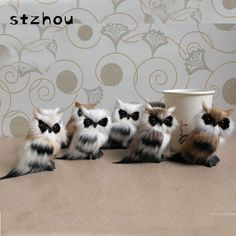 Artificial Animal 8*5*8cm Owl Toy Fur& Polyethylene Model Home Furnishing Decoration Christmas Gift For Baby