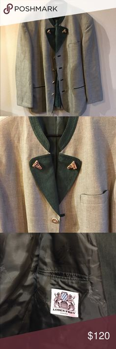 Men's Loden Frey blazer Cream with green trim Men's Loden Frey blazer size 56 German or 46R (XXL) USA.  Cream with green trim. Bone looking buttons.  Very rare in the states. Bought for 400 pounds which is about $500 in American Suits & Blazers Sport Coats & Blazers