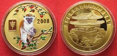 2008 Nordkorea NORTH KOREA 20 Won 2008 Lunar YEAR OF THE MONKEY brass COLORED Proof # 94939 Proof