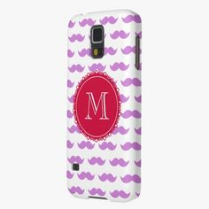 It's cute! This Lilac Mustache Pattern, Red White Monogram Galaxy S5 Case is completely customizable and ready to be personalized or purchased as is. Click and check it out!