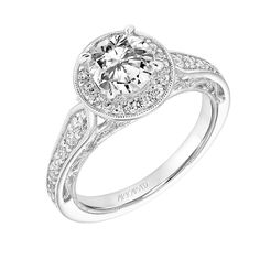 New for our Spring collection! Dolores: Vintage Diamond Halo Engagement Ring with Pinched Diamond Shank, Floral Filigree with Diamond Accents and Hand Milgrain Detail #artcarvedbridal #spring #whitegold #engagementring