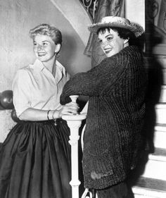 Judy gets a set visit from her pal Doris Day on the set of A Star is Born