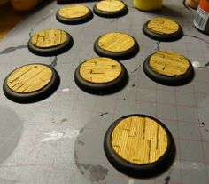Tutorial: wooden plank bases - Blogs - Wyrd Miniatures using plasticard to make cool wooden plank bases