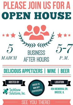 Here was a flyer we made several months ago for a Open House we held at our office for Business After Hours. #techknowsolutions #design