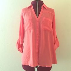 Express Portifono Shirt Vibrant silky coral-pink Express blouse. Button down with adjustable sleeve lengths. Two front pockets. Worn, but looks like new! Express Tops Blouses