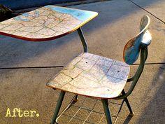 Decoupage Tutorial   Map Chair   MyAlteredState  