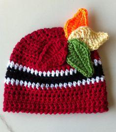 Crocheted Chicago Blackhawks Inspired Beanie by dcoycrochetsforyou