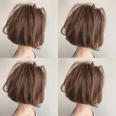 Ciel 魚住理恵子さんはInstagramを利用しています:「透き通ったグレージュカラーに大人ボブ⭐︎ 20センチくらいカット✂︎ 毛先はコテでワンカール仕上げ(*★o艸O`) ★ ★ #セルフアレンジ #簡単アレンジ #ブライダルヘア #hair#岐阜市美容室#アップスタイル…」
