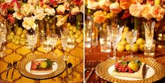 Lavish Fall Wedding  If Nancy's apple trees are still producing, I would love to line the tables with her fresh apples! :D