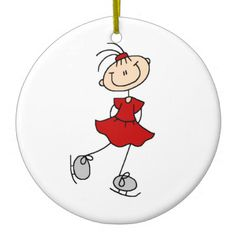 Red Girl Ice Skater T-shirts and Gifts Christmas Ornaments