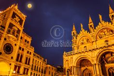 Full moon in San Marco Square with view of San Marco Basilica and the Clock Tower.  Copyright:Corina Daniela Obertas | eZeePics Studio	Size:5616x3744 / 13.5MB