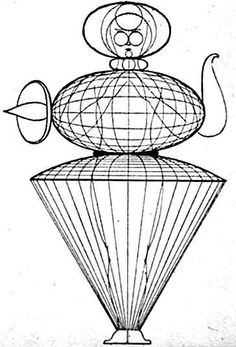 Sketch of a costume for the Bauhaus Theatre by Oskar Schlemmer.
