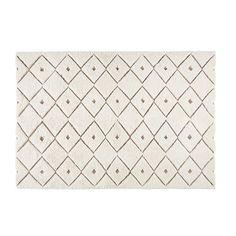 Klama - Tappeto in lana e tessuto bianco a motivi 140x200cm