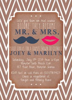 Wedding Couples Shower Invitation  Mustache & Lips by mailboxbliss, $10.00