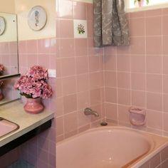 This classic bathroom in Canberra features a pink coloured sink, toilet and bath. Bathroom Colors, Bathroom Pink, Bathroom Ideas, Pink Images, Chic Bathrooms, Downstairs Bathroom, Beautiful Bathrooms, Bath Caddy, Corner Bathtub
