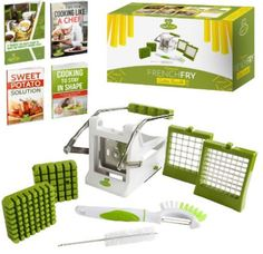 Chef's Path French Fry Potato Cutter Bundle:Potato French Fries/Vegetable Slicer-Chipper SS Blades Suction Base,Bonus Picker/Fruit-Vegetable Brush & Cleaning Brush,Free E-Books Spiral Potato Cutter, Perfect French Fries, Potato Slicer, French Fry Cutter, Best Amazon Products, Sweet Cooking, Vegetable Slicer, Potato Wedges, Brush Cleaner