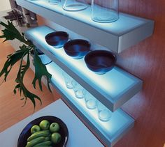 Shelves and LEDs in one unit? These shelves will definitely take any room to the next level. Led Shelf Lighting, Under Cabinet Lighting, Lighting Ideas, Glass Wall Shelves, Wall Mounted Shelves, Modern Kitchen Lighting, Kitchen Containers, Beach House Kitchens, Led Diy