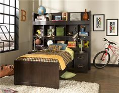Smart Solutions Chocolate Bookcase Bed