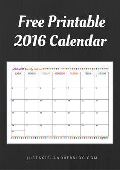 Love this printable 2016 calendar! And it's free! | JustAGirlAndHerBlog.com