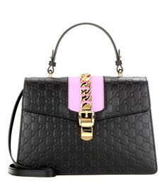 Gucci Signature Sylvie black embossed leather shoulder bag