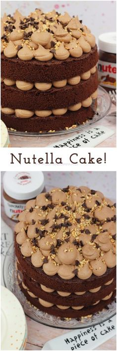 A Three-Layer Nutella Cake with Chocolate Cake, Nutella Buttercre. A Three-Layer Nutella Cake with Chocolate Cake, Nutella Buttercre. Baking Recipes, Cake Recipes, Dessert Recipes, Nutella Buttercream Frosting, Nutella Cake, Cake Chocolate, Chocolate Frosting, Nutella Cookies, Baking Chocolate