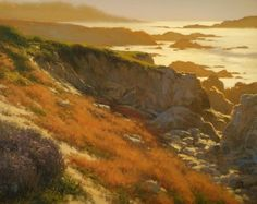 Rocky Coast of Pebble Beach by Brian Blood Oil ~ 24 x 30