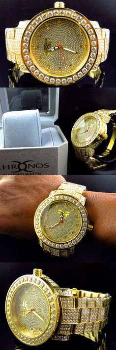 Other Mens Jewelry 177770: Men Yellow Iced Out Bezel And Band Khronos Jojino Joe Rodeo Genuine Diamond Watch BUY IT NOW ONLY: $349.99