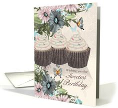 Sweetest Birthday With Flowers And Cupakes card (1134120)
