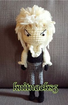 Crochet David Bowie doll is approximately 9-10in tall and inspired by The Labyrinth character Doll is made to order C:   All of KnitNacks3 items are