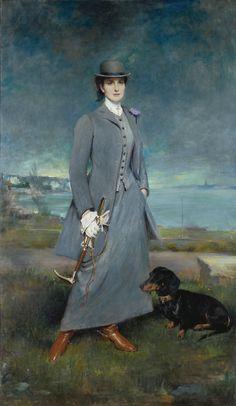 Portrait of Countess de la Maitrie in Equestrian Dress - Charles Albert Walhain 1910 (dachshund! Woman Painting, Painting & Drawing, Arte Fashion, Arte Dachshund, Dog Art, Beautiful Paintings, Oeuvre D'art, Art History, Equestrian