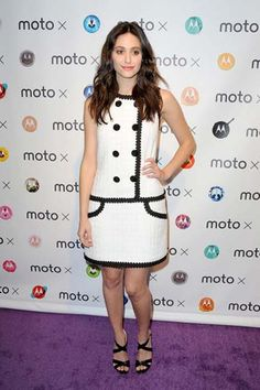 Emmy Rossum wore a prim Andrew Gn dress to attend the Moto X Film Experience at the Palihouse in West Hollywood.