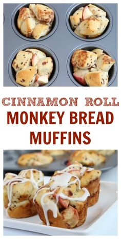 , these mini Cinnamon Roll Monkey Bread Muffins are baked in a muffin ...