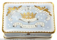 The Royal Collection Trust has released souvenirs to celebrate the birth of baby Cambridge, Prince George. (This is the Royal Baby Commemorative China Pillbox.
