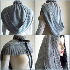 """DIY $5 Knit Victorian Hooded Cowl Pattern from the Etsy Store of TheJaneVictoria.  A beautiful, very """"Morgana,"""" Celtic-styled hooded mozzetta pattern is all in one piece and has a high ribbon-laced turtle-neck collar and a generous hood that sweeps the shoulders. It stays up on its own but for windy days you can use a hairpin to secure it without losing the silhouette."""