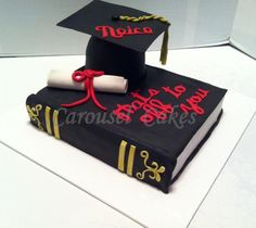 Graduation hat and book cake, all edible